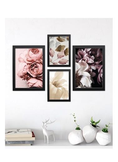 Lyn Home & Decor Çiçek Desen Çerçeveli Poster 4 Lü Tablo 17,5X23,5 2 Adet 23,5X33,5 Siyah